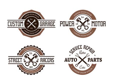 Retro stijl vector auto emblemen. Stock Illustratie