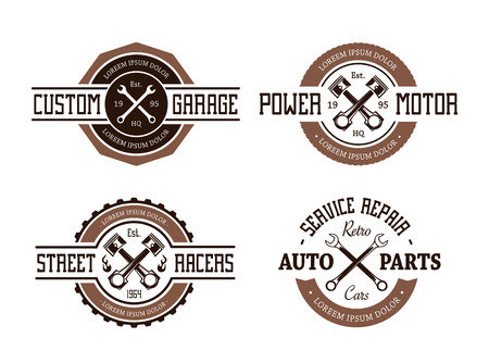 garage: Retro styled vector auto emblems.
