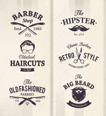 Vector set of vintage barber shop emblems. Vector