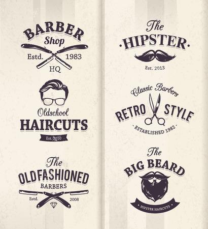 a beard: Vector set of vintage barber shop emblems.