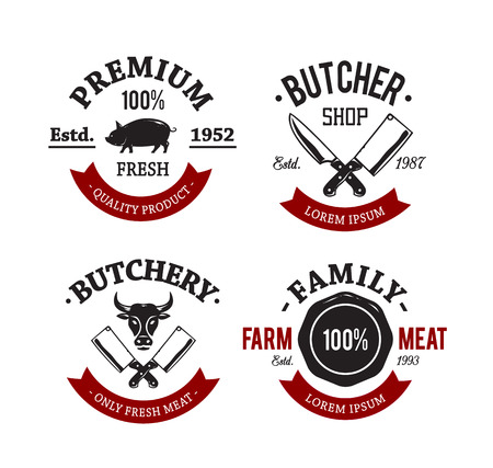 meat knife: Vector set of vintage butchery meat shop emblems.