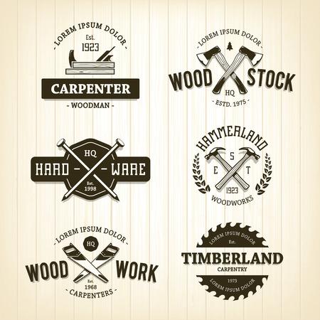 Vector conjunto de emblemas de carpintería de la vendimia. Vectores