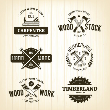 hardware: Vector set of vintage carpentry emblems.