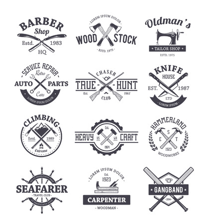 seal gun: Vector set of different crafts emblems. Vintage style seals, badges and design elements.