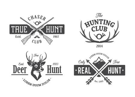 fusil de chasse: Vector set des emblèmes de chasse vintage.