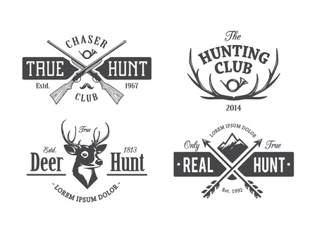 old rifle: Vector set of vintage hunting emblems.