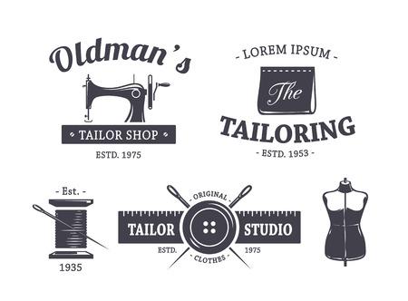 maquina de coser: Vector conjunto de emblemas a medida de la vendimia.