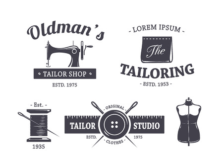 sew label: Vector set of vintage tailor emblems.