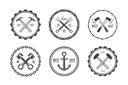 axe: Set of circle crafts emblems. Retro styled vector monochrome stamps.