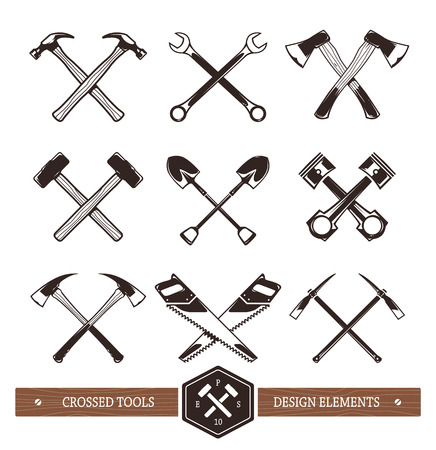 axe: Vector crossed hard work tools. Set of useful elements for emblems, badges or any other retro designs.  Illustration