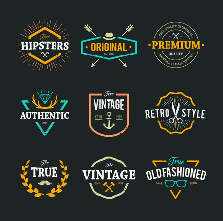 cool: Set of hipster emblems, badges and design elements. Cool old fashioned labels for retro styled design.