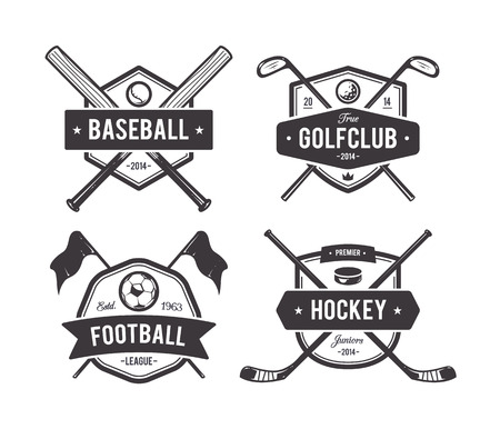 hockey equipment: Vector set of retro styled sport emblems. Team sport badges and design elements. Illustration
