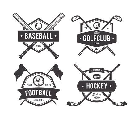 golf clubs: Vector set of retro styled sport emblems. Team sport badges and design elements. Illustration