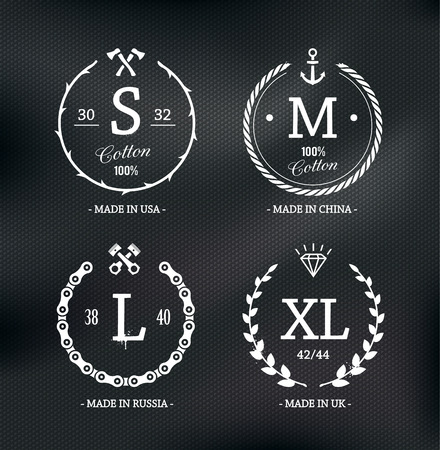 Set of cool different styled wear size emblems on cotton textured background. Vector illustration. Vector