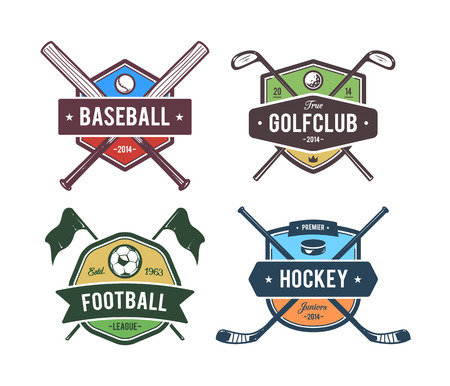 golf equipment: Vector set of retro styled sport emblems. Team sport badges and design elements. Colored version. Illustration