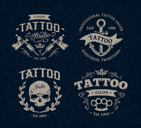 machine shop: Vector tattoo studio illustration templates on dark background. Cool retro styled vector emblems.
