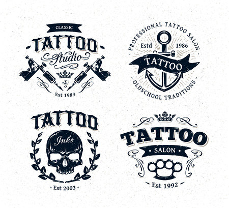 machine: Vector tattoo studio illustration templates on white background. Cool retro styled vector emblems.