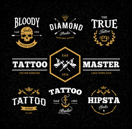 Vector set of cool tattoo studio logo templates on dark background. Retro styled trendy vector emblems.