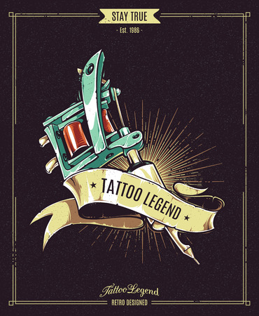 Tattoo Legend vector poster. Retro styled illustration of tattoo machine with ribbon on dark grungy background.
