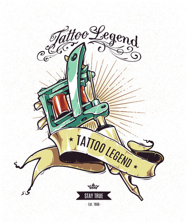Tattoo Legend vector poster. Retro styled illustration of tattoo machine with ribbon on white grungy background.