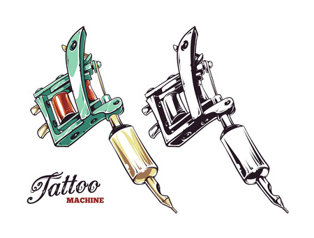 machine: Cool hand-drawn tattoo machine isolated on white. Colored and monochrome variations. Vector illustration.