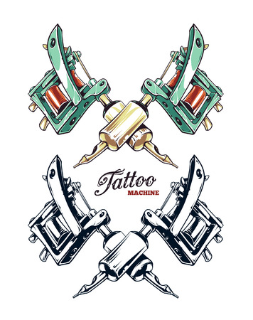 Crossed hand-drawn tattoo machine isolated on white. Colored and monochrome variations. Vector illustration.