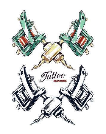 Gekruist met de hand getekend tatoeage machine op wit wordt geïsoleerd. Gekleurde en zwart-wit variaties. Vector illustratie. Stock Illustratie