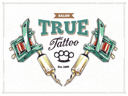 Cool retro styled tattoo studio poster template with tattoo machines and classic typography. Vector illustration.