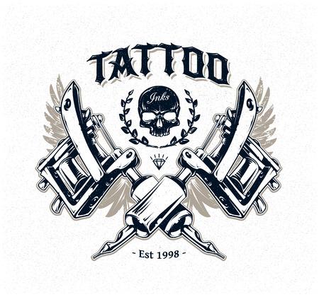タトゥー マシンと古典的なタイポグラフィとクールな本格的なタトゥー スタジオ ポスター テンプレート。ベクトル イラスト。