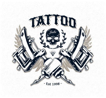 Cool authentic tattoo studio poster template with tattoo machines and classic typography. Vector illustration. Ilustração