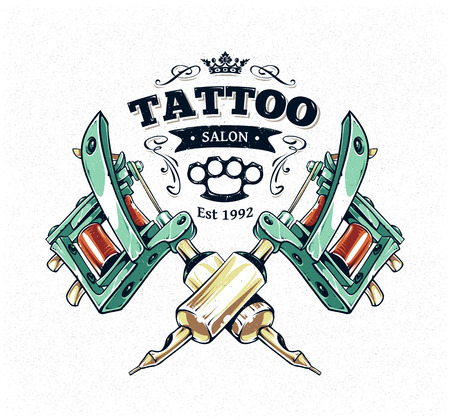 machines: Cool authentic tattoo studio poster template with tattoo machines and classic typography. Vector illustration. Illustration