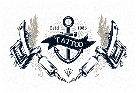 Cool authentic tattoo studio poster template with tattoo machines and classic typography. Vector illustration. Ilustrace