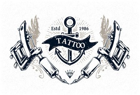 Coole Tattoo-Studio authentisch Plakat Vorlage mit Tattoo-Maschinen und klassische Typografie. Vektor-Illustration. Standard-Bild - 31416307