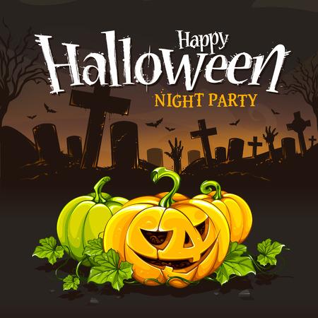 Plantilla de diseño de la tarjeta de Halloween. Calabazas de la historieta en fondo cementerio. Tipografía grunge Halloween.