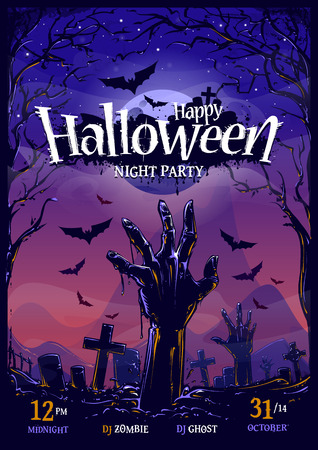 Halloween vertical poster design template.  Vector