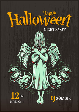 grunge background: Halloween party poster template. Zombie girl with speakers. Halloween typography.