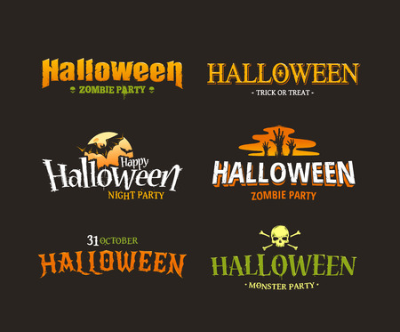 title hands: Halloween typography set. Six different styled artistic halloween titles. Vector illustration. Illustration