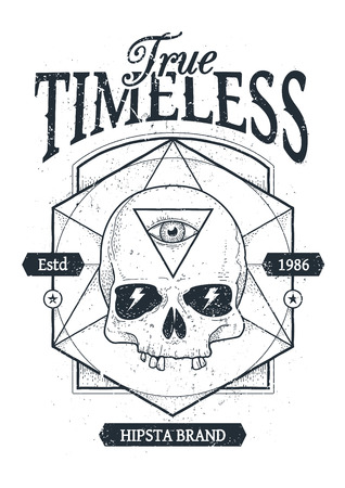 skull drawing: Dot work styled print with skull and geometric hipster elements. Vector illustration.