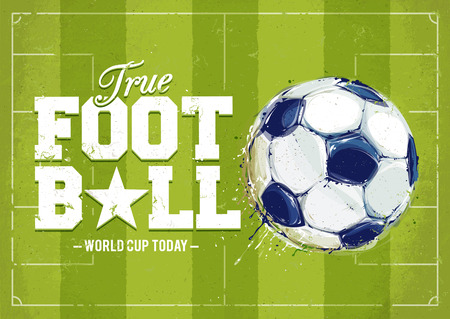 aquarelle: Grunge football poster with aquarelle styled ball. Vector illustration. Illustration