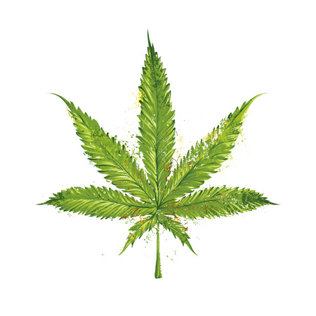 Grunge marihuana blad. Vector illustratie. Stock Illustratie