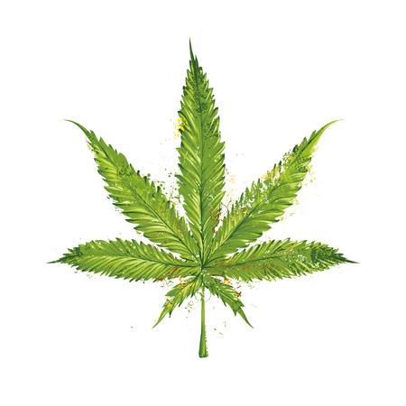 hoja marihuana: Hoja de marihuana Grunge. Ilustraci�n del vector.