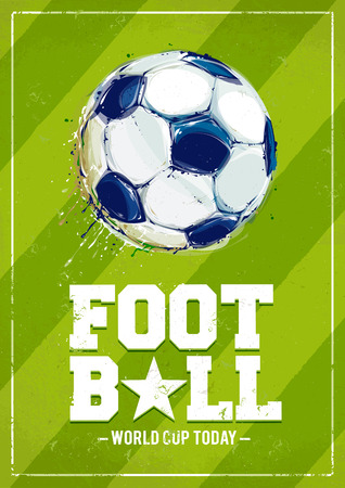 Grunge football poster with aquarelle styled ball. Vector illustration. Vector