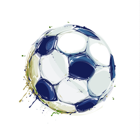 Grunge aquarelle styled soccer ball on white. Vector illustration.