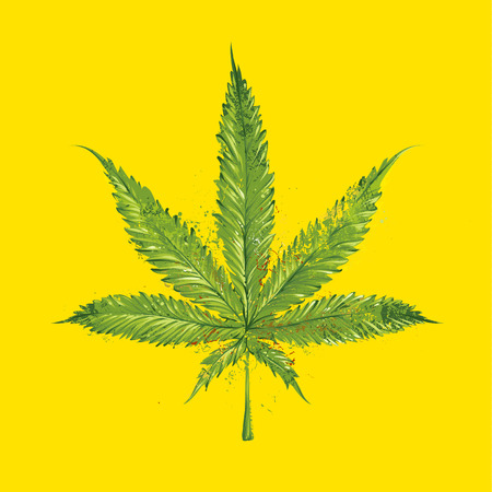 Grunge marijuana leaf. Vector illustration. Illustration