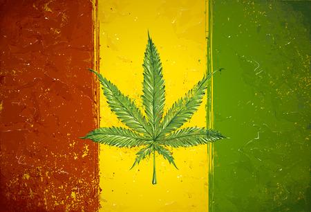 Gruge stijl handgetekende ganja blad op rastafari gekleurde vlag. Vector illustratie
