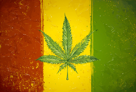 Gruge styled hand-drawn ganja leaf on rastafari colored flag. Vector illustration Ilustração