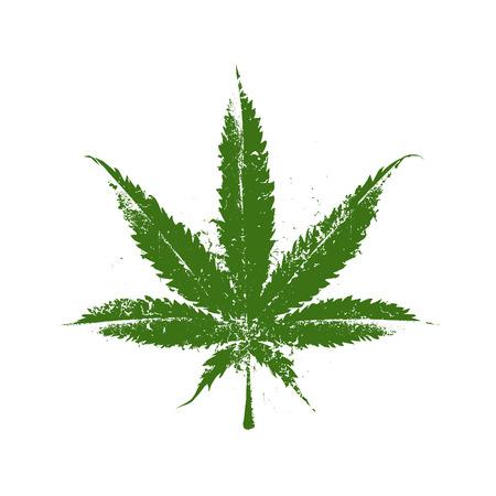 Vector grunge marijuana blad.