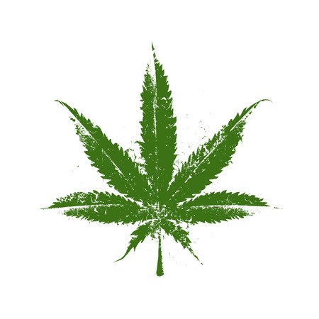 Vector grunge marijuana leaf. Ilustracja
