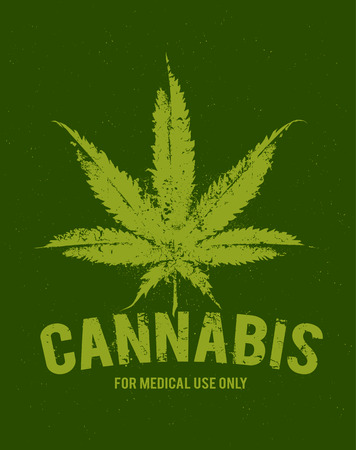 hashish: Vector cannabis grunge emblem. Illustration