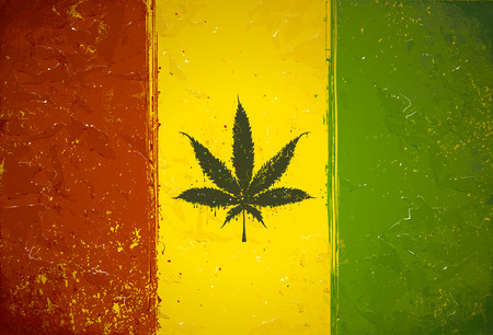 Gruge styled hand-drawn ganja leaf on rastafari colored flag. Vector illustration 向量圖像